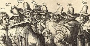 8 of the 13 Gunpowder Plot conspirators.  Guy Fawkes is third from the right.